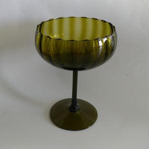 "Vintage Empoli MCM Green Art/Optic Glass Bowl 9.5"""